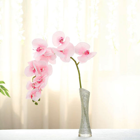 "2 Stems - 40"" Pink Silk Orchids Stem - Artificial Orchid Flowers"