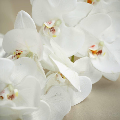 "2 Stems - 40"" White Silk Orchids Stem - Artificial Orchid Flowers"