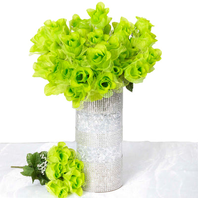 12 Bush 84 pcs Lime Artificial organza Rose Bud Flowers