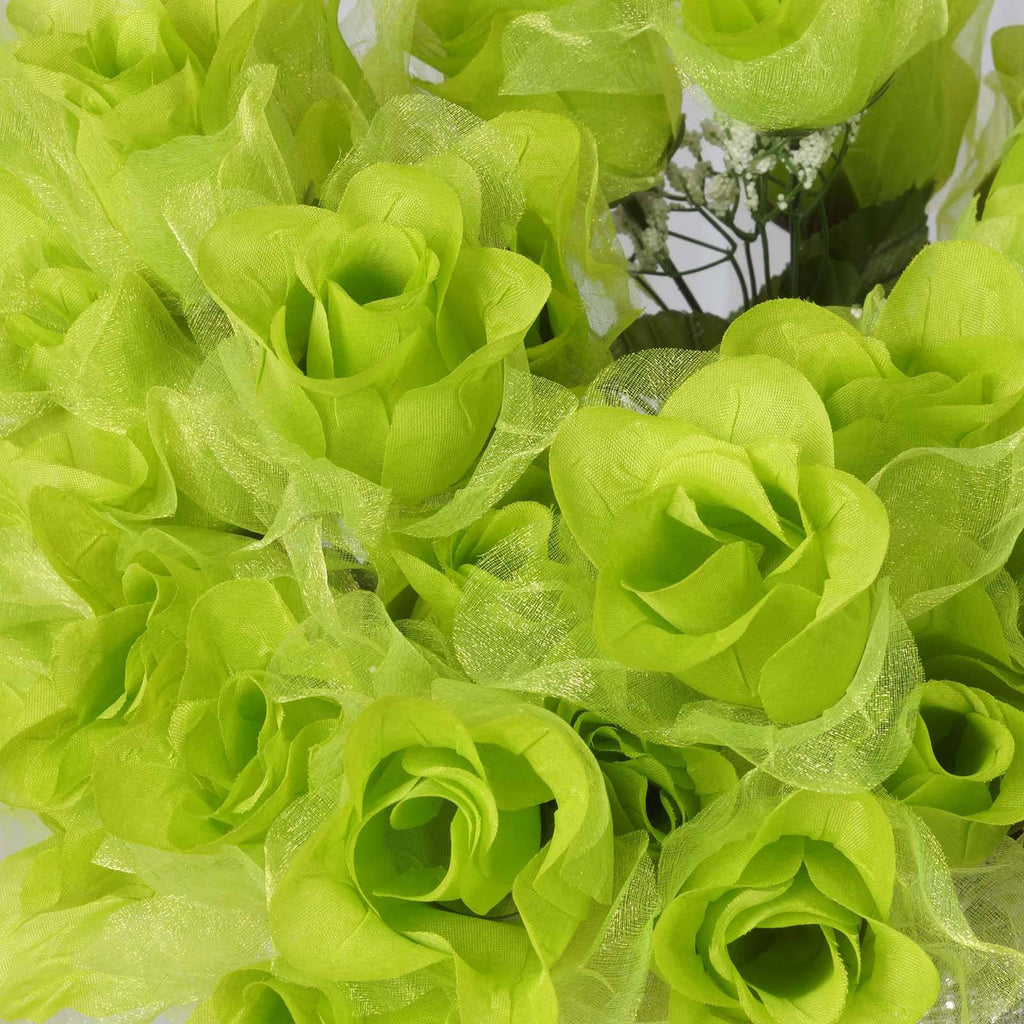 84 Organza Rose Buds - Lime
