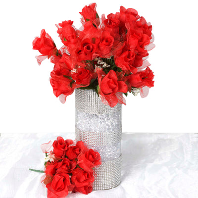 12 Bush 84 pcs Red Artificial organza Rose Bud Flowers