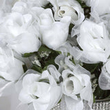 84 Organza Rose Buds - White