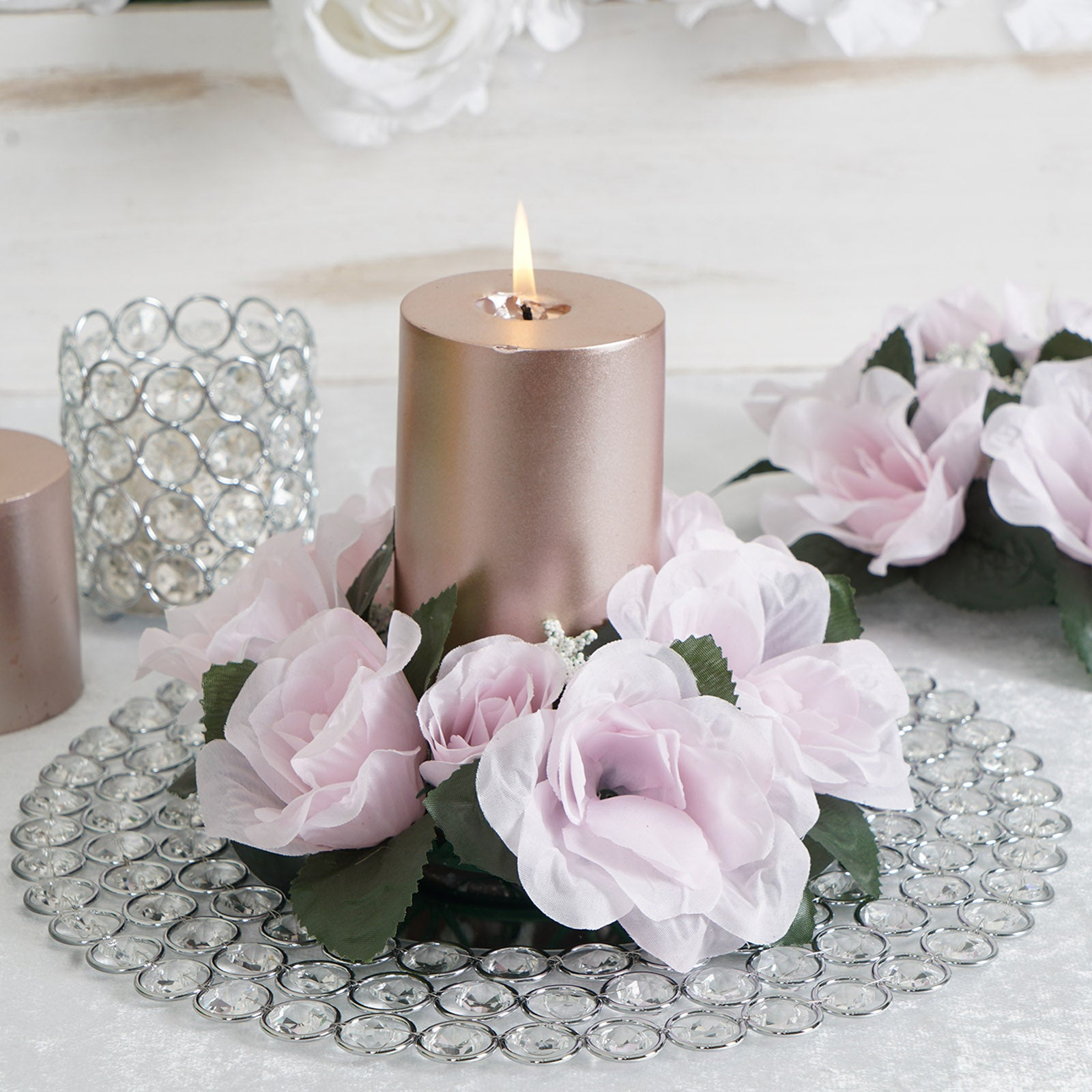 """12/"""" Green Metal Florist 4 Candle Ring Centerpiece NEW"""