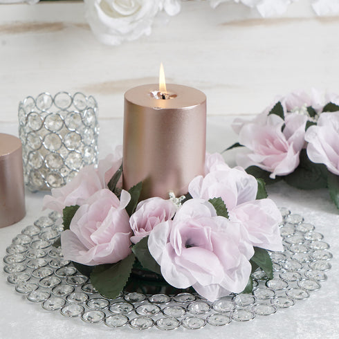 4 Pack Blush | Rose Gold Artificial Silk Rose Floral Candle Rings