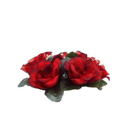 4 Pack Black/Red Artificial Silk Rose Floral Candle Rings