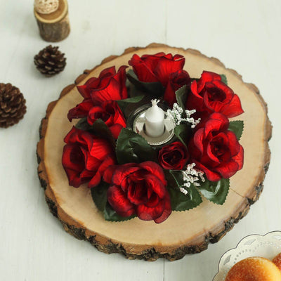 8 Pack Black/Red Silk Rose Flower Candle Rings Artificial