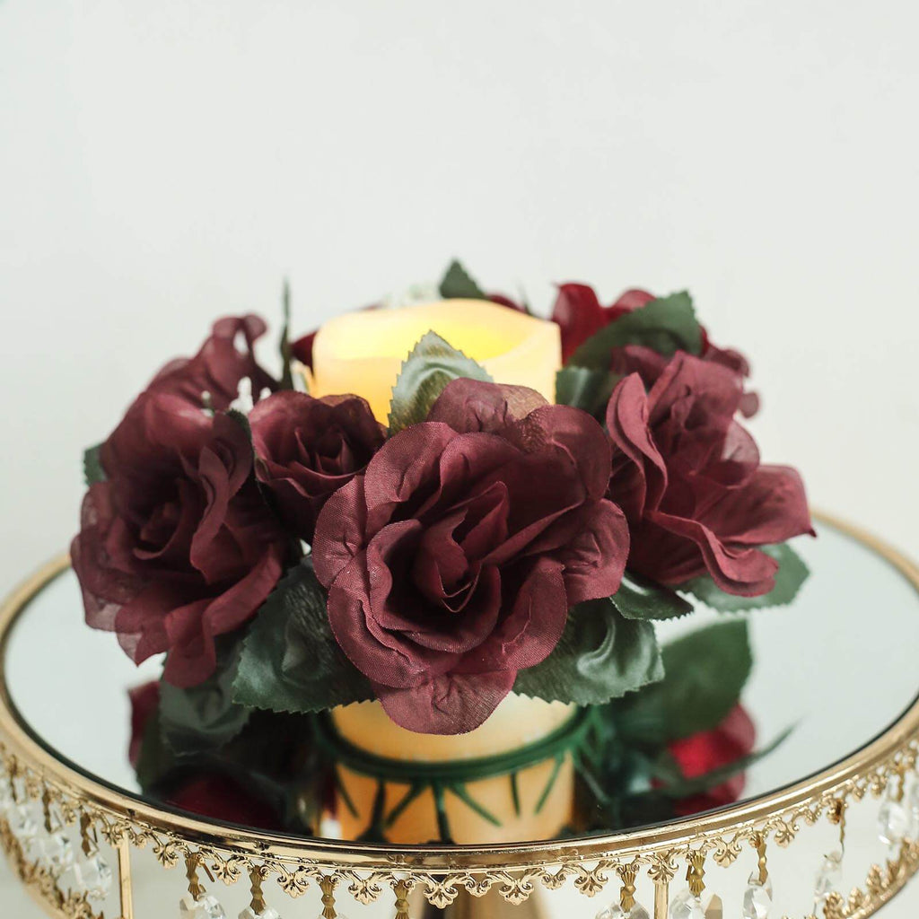 Pack of artificial burgundy rose candle rings wedding