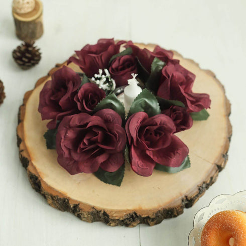 8 Pack Burgundy Artificial Silk Rose Floral Candle Rings