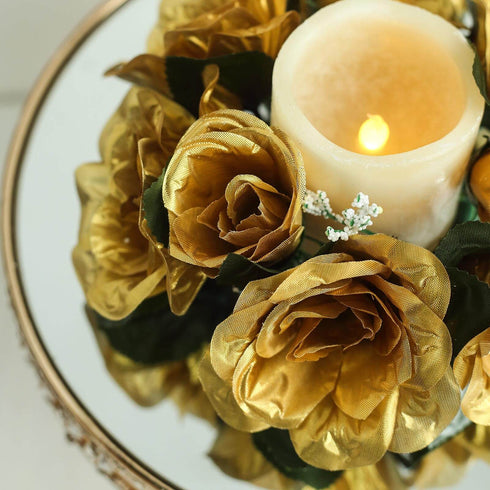 Candle Rings, Silk Roses, Artificial Flowers