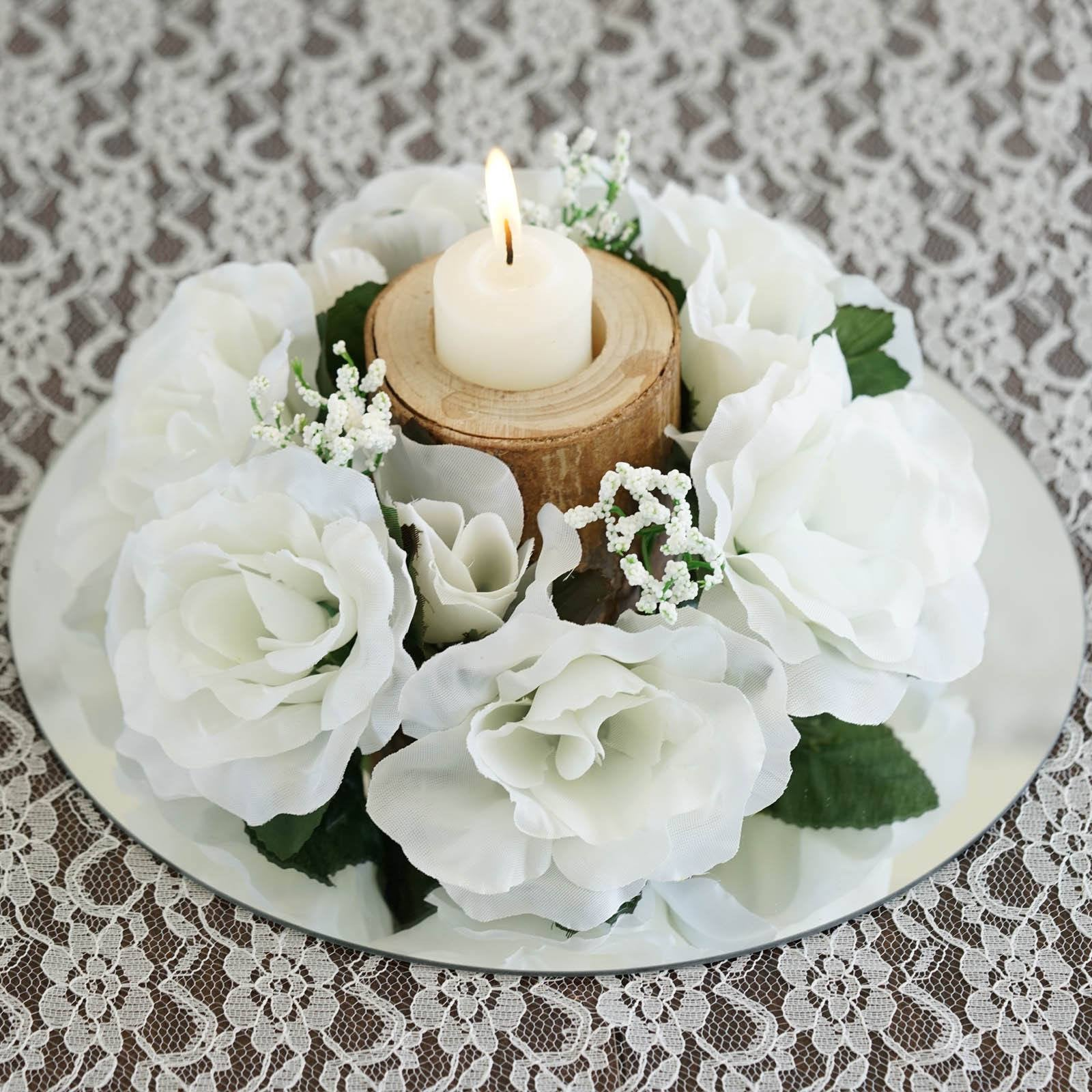 8 Pack of Artificial Ivory Rose Candle Rings Wedding Centerpiece ...
