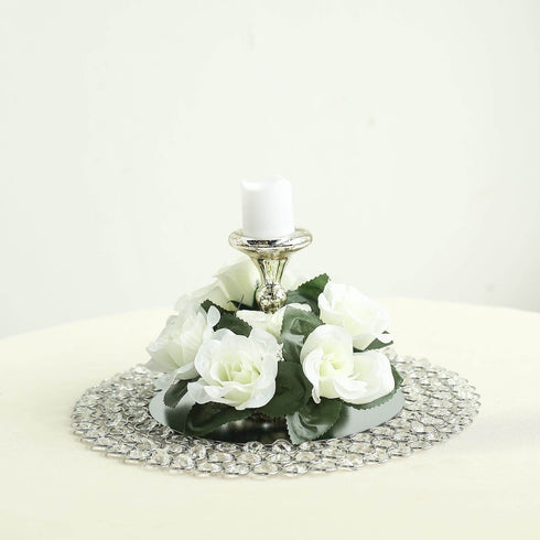 4 Pack Ivory Artificial Silk Rose Floral Candle Rings