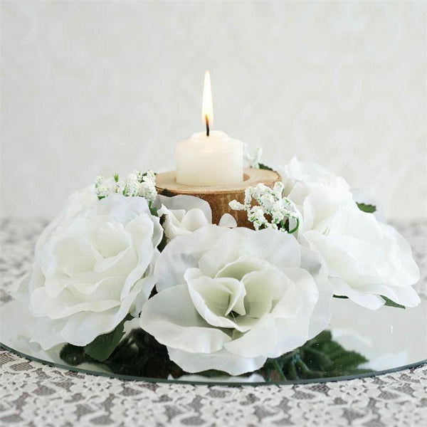 Candle Flower Centerpieces Wedding: 8 Pack Of Artificial Ivory Rose Candle Rings Wedding