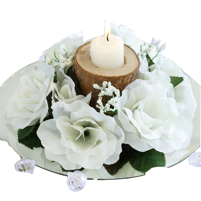 8 Pack Ivory Artificial Silk Rose Floral Candle Rings