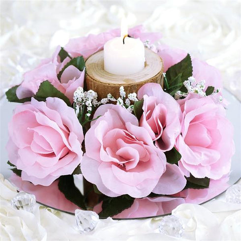 8 Pack Pink Silk Rose Flower Candle Rings Artificial