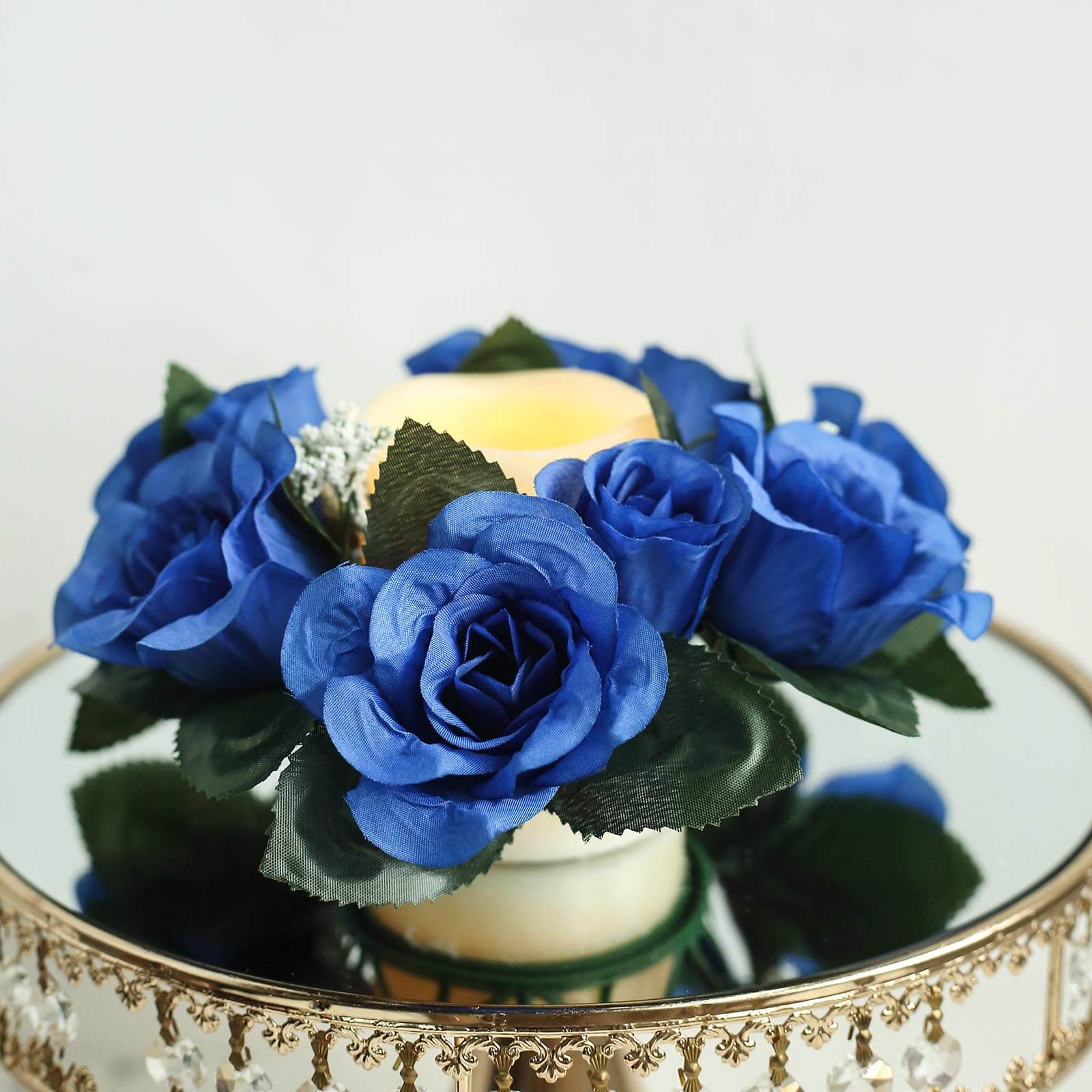 8 Pack of Artificial Royal Blue Rose Candle Rings Wedding ...