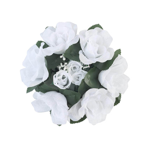 4 Pack White Artificial Silk Rose Floral Candle Rings