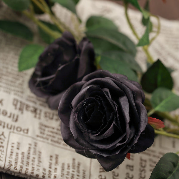 "Pack of 2 - 33"" Black Silk Long Stem Roses, Faux Flowers Rose Bouquet"