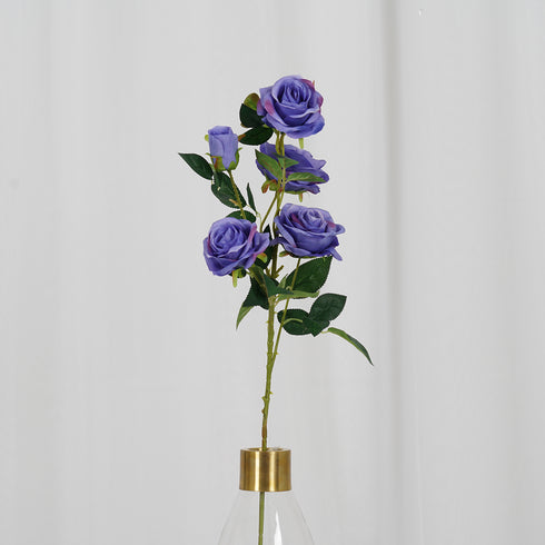 "Pack of 2 - 33"" Violet Silk Long Stem Roses, Faux Flowers Rose Bouquet"
