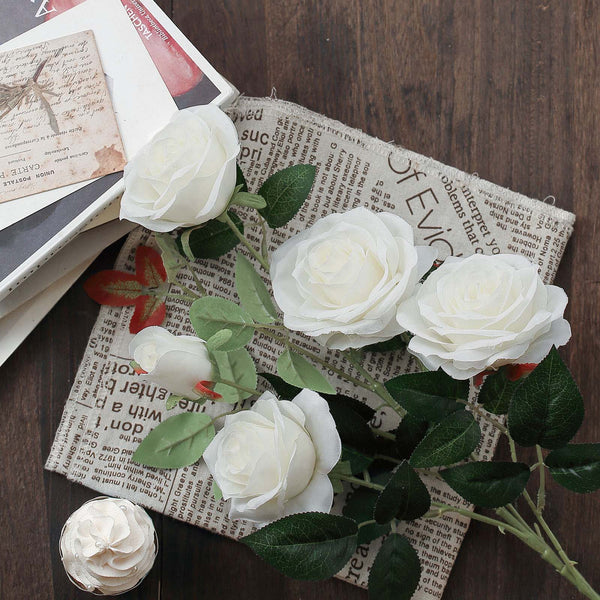 "Pack of 2 - 33"" White Silk Long Stem Roses, Faux Flowers Rose Bouquet"