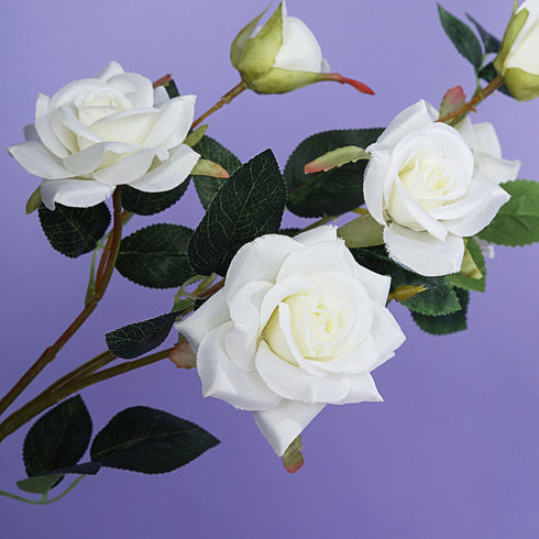 Pack of 2 | 38 inch Cream Silk Long Stem Roses, Artificial Flowers Rose Bouquet