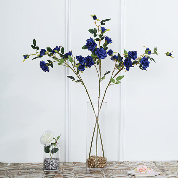 "Pack of 2 | 38"" Navy Blue Silk Long Stem Roses, Artificial Flowers Rose Bouquet"