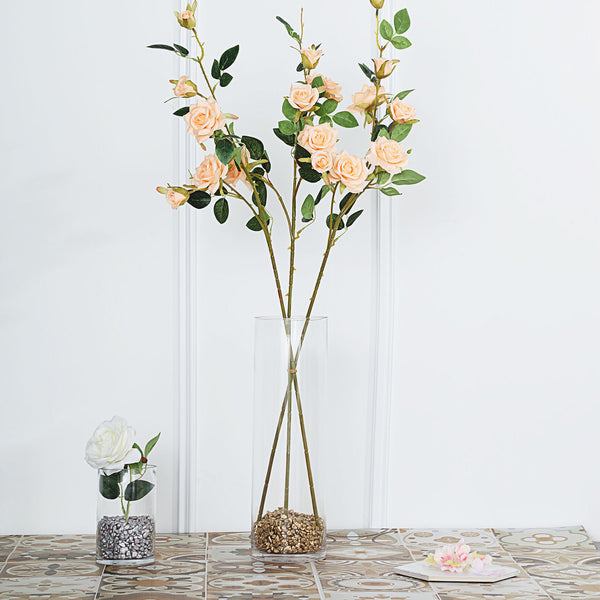 "Pack of 2 | 38"" Peach Silk Long Stem Roses, Artificial Flowers Rose Bouquet"
