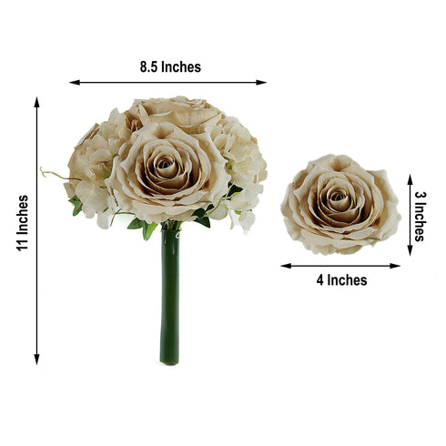 2 Pack | Champagne Rose & Hydrangea Artificial Silk Flowers Bouquet