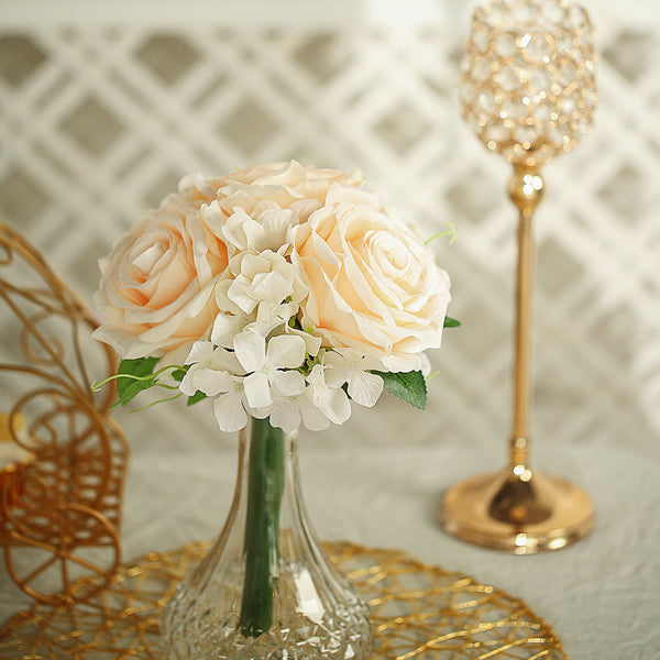 2 Pack Cream Rose Hydrangea Artificial Silk Flowers Bouquet Efavormart
