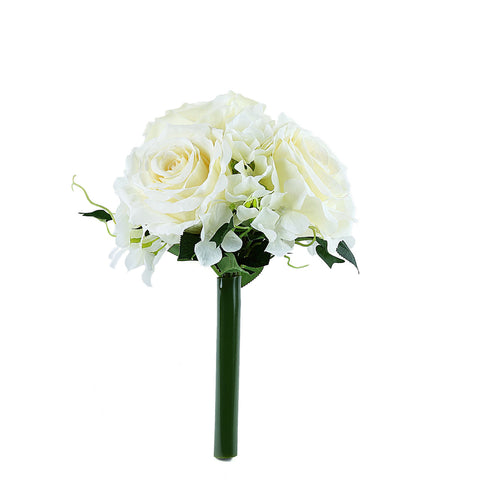 2 Pack | Ivory Rose & Hydrangea Artificial Silk Flowers Bouquet