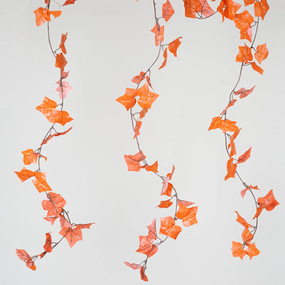 8 Pack 6 Ft Orange UV Protected Fall Ivy Silk Leaf Chain Artificial Garland