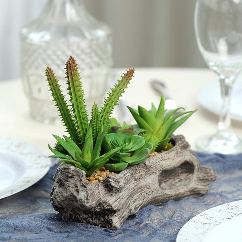 "6"" Long - Succulent Planter with 15 Artificial Succulents - Artificial Plants"