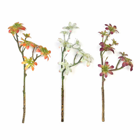 "Set of 3 | 18"" Assorted Artificial Succulent Plants Aeonium Spray Long Stem Air Plants"
