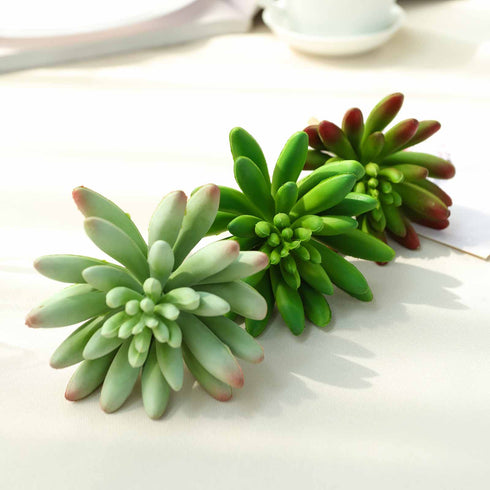 "Set of 3 | Multi Colored Fake Succulents | 6"" Spike Aeonium Decorative Artificial Plants"