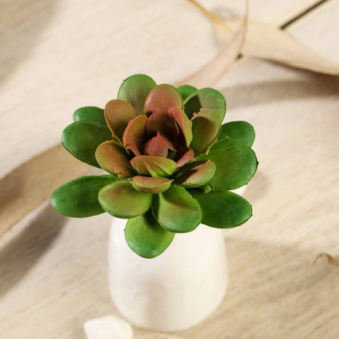"Set of 3 | Multi Colored Fake Succulents | 3"" Roundleaf Echeveria Stems Decorative Artificial Plants"
