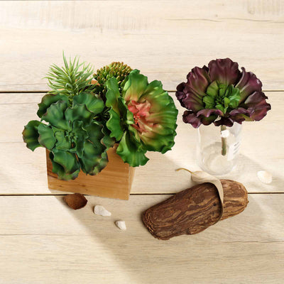 "Set of 3 | Multi Colored Fake Succulents | 6"" Wavy Kalanchoe Decorative Artificial Plants"