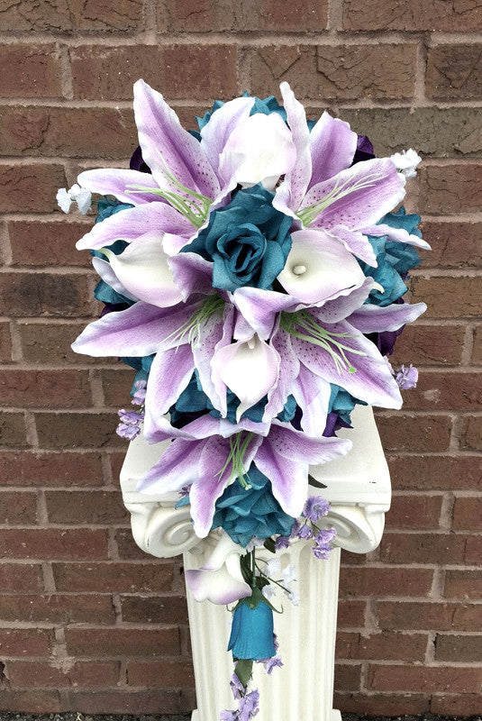 tiger lily bouquets weddings 70 artificial silk tiger flower bouquet blue 8007