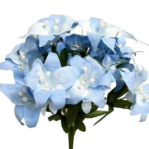 70 Artificial Silk Tiger Lily Wedding Flower Bouquet Vase Centerpiece Decor - Blue