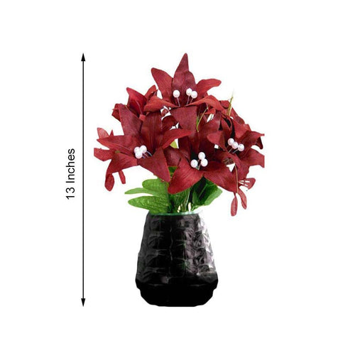 10 Pack 70 Pcs Burgundy Artificial Silk Tiger Lily Flowers