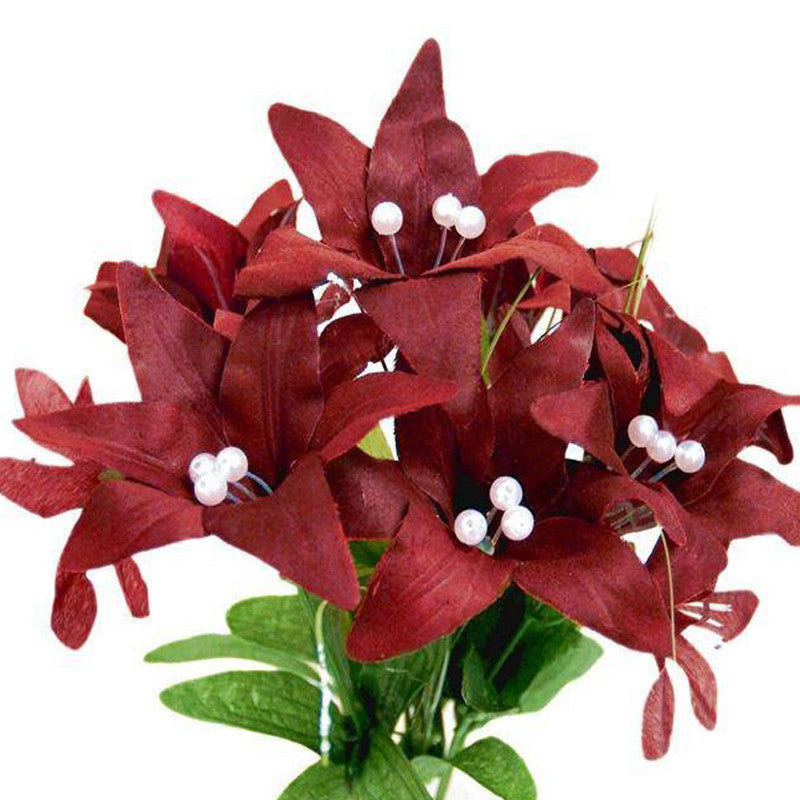 70 Artificial Silk Tiger Lily Wedding Flower Bouquet Vase Centerpiece Decor - Burgundy