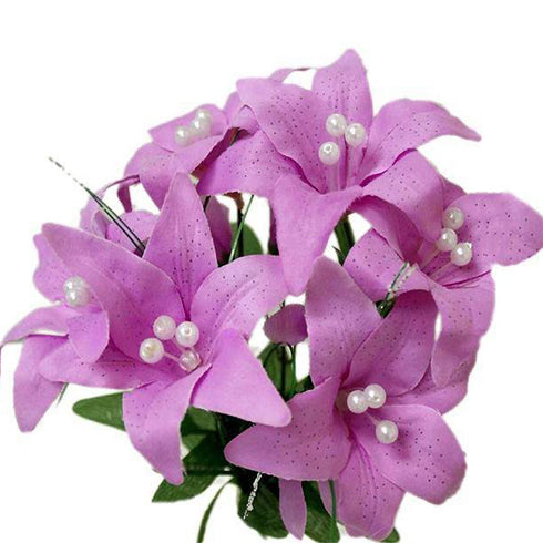 10 Pack Lavender Artificial Silk Tiger Lily Flower Bridal Bouquet