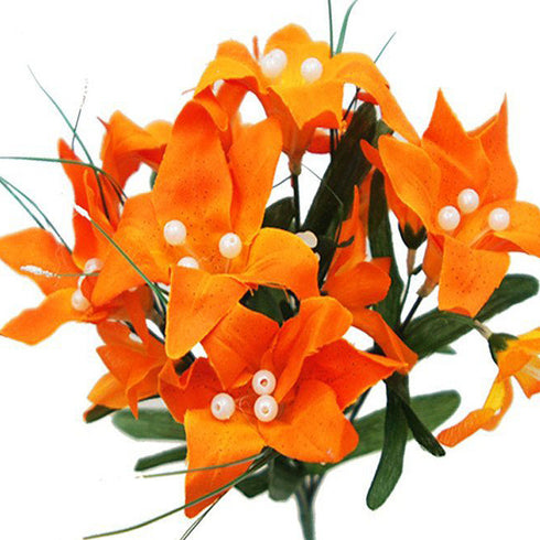 10 Pack Orange Artificial Silk Tiger Lily Flower Bridal Bouquet