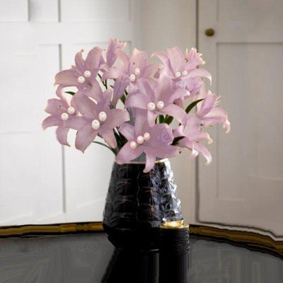 10 Pack 70 Pcs Pink Artificial Silk Tiger Lily Flowers Bridal Bouquet Wedding Centerpiece Decoration
