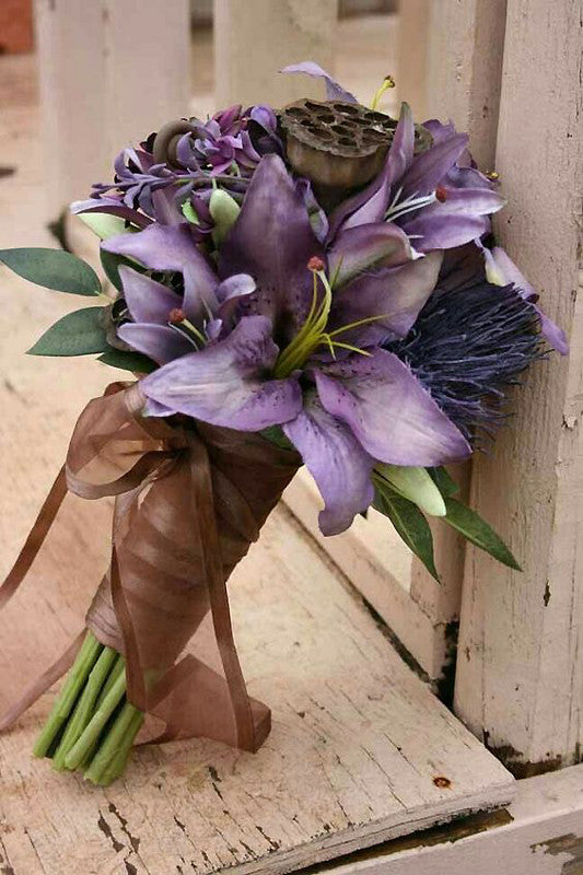 70 Artificial Silk Tiger Lily Wedding Flower Bouquet Vase Centerpiece Decor - Purple( Sold Out )