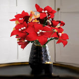 10 Pack 70 Pcs Red Artificial Silk Tiger Lily Flowers Bridal Bouquet Wedding Centerpiece Decoration