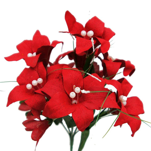 10 Pack Red Artificial Silk Tiger Lily Flower Bridal Bouquet