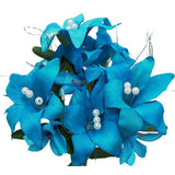 10 Pack Turquoise Artificial Silk Tiger Lily Flower Bridal Bouquet