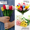 "10 Pack | 13"" Peach Single Stem Real Touch Tulips Artificial Flowers Bouquet, Foam Wedding Flowers"