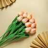 10 Pack | 13 inch Peach Single Stem Real Touch Tulips Artificial Flowers Bouquet, Foam Wedding Flowers