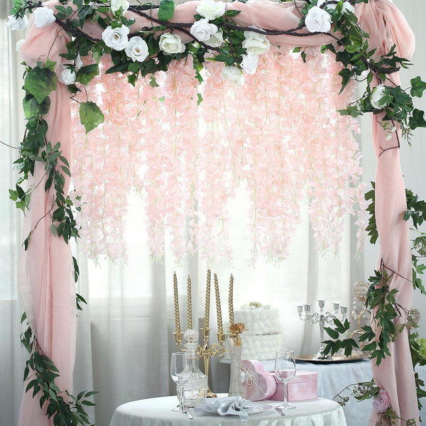 "42"" Blush & Rose Gold Artificial Wisteria Vine Hanging Garland"