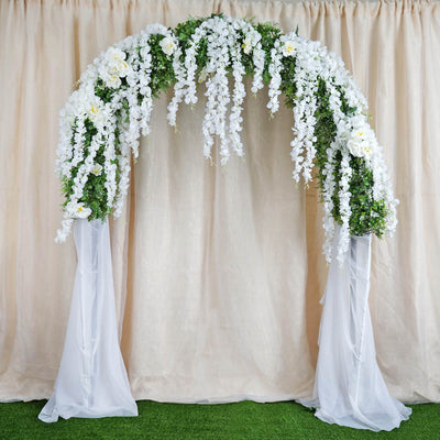 4 Ft White Artificial Wisteria Vine Hanging Garland